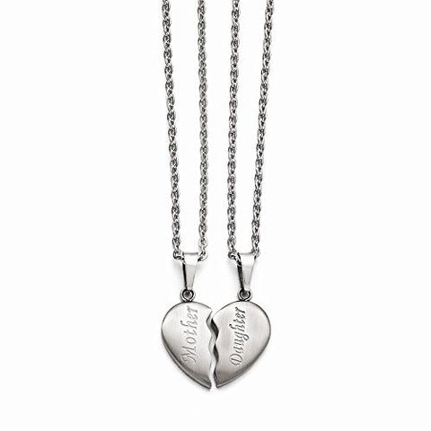 Stainless Steel Brushed 1/2 Heart Mother/Daughter Necklace Set - shopvistar