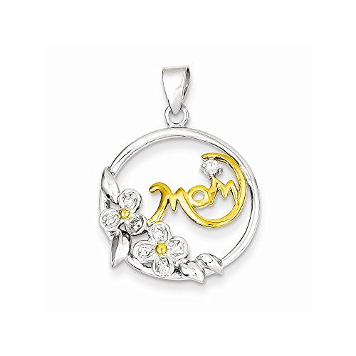 Sterling Silver Vermeil Cz Mom Pendant, Best Quality Free Gift Box Satisfaction Guaranteed - shopvistar