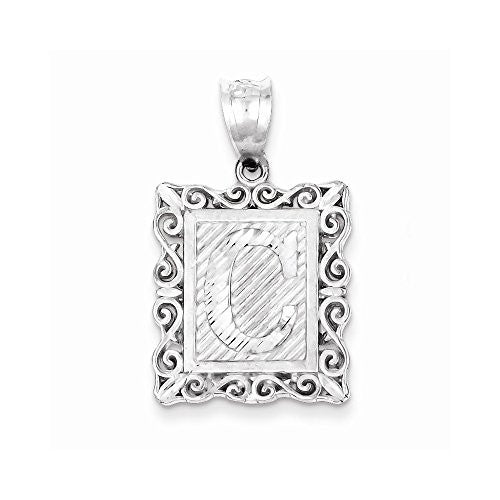 Sterling Silver Initial C Charm, Best Quality Free Gift Box Satisfaction Guaranteed - shopvistar