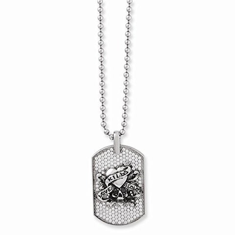 Stainless Steel Love Kills Slowly And Cz Dog Tag Necklace by Ed Hardy Jewelry - shopvistar
