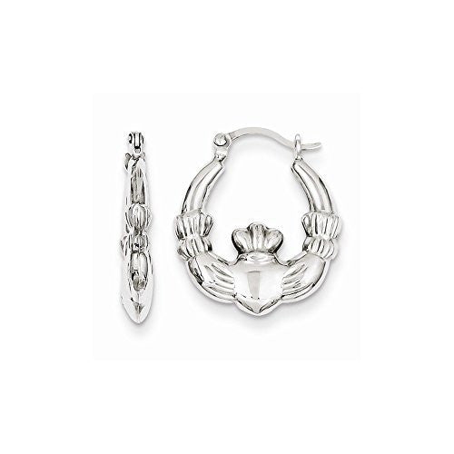 Sterling Silver Rhodium Plated Claddagh Hollow Hoop Earrings - shopvistar