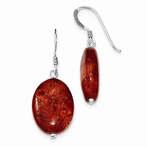 Sterling Silver Red Coral Earrings, Best Quality Free Gift Box Satisfaction Guaranteed - shopvistar
