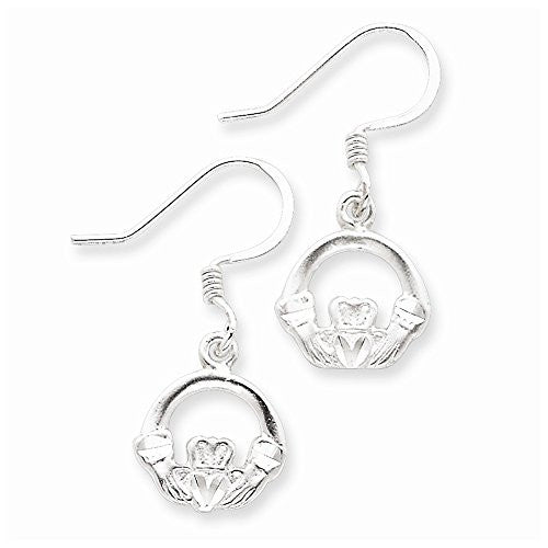 Sterling Silver Dia-Cut Claddagh Earrings, Best Quality Free Gift Box Satisfaction Guaranteed - shopvistar