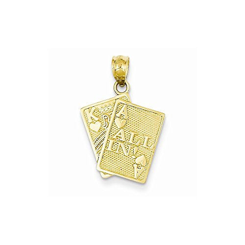 14k Ace Of Hearts & King Of Hearts All In! Cards Pendant - shopvistar