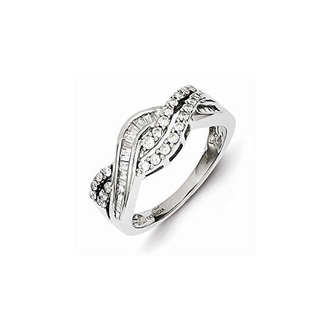 Sterling Silver 0.5ct Diamond Baguette Swirl Ring, Best Quality Free Gift Box Satisfaction Guaranteed - shopvistar