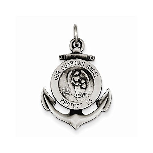 Sterling Silver Antiqued Guardian Angel On Anchor Medal Pendant - shopvistar