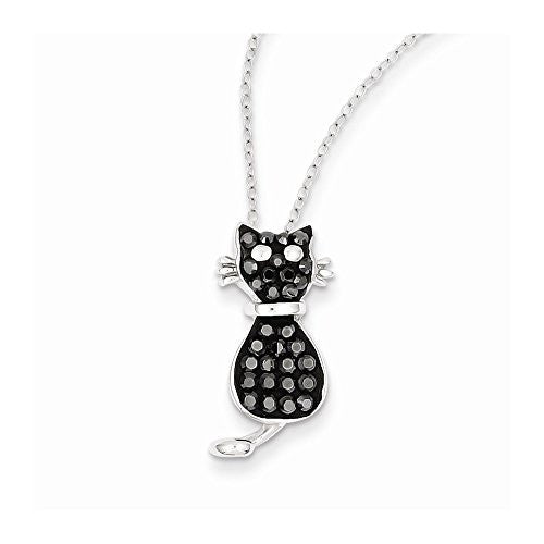 Sterling Silver Black & White Stellux Crystal Cat Necklace - shopvistar