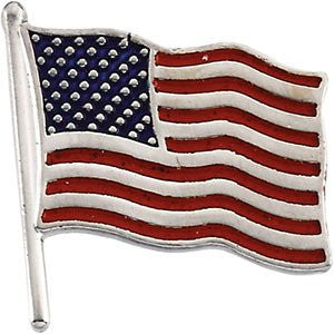 14K White Gold American Flag Lapel Pin - shopvistar