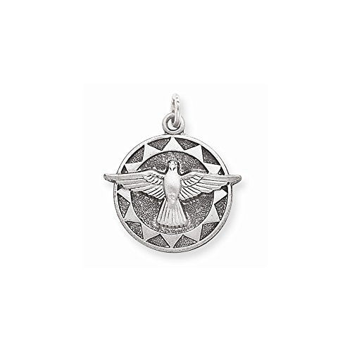 Sterling Silver Antiqued Holy Spirit Medal, Best Quality Free Gift Box Satisfaction Guaranteed - shopvistar