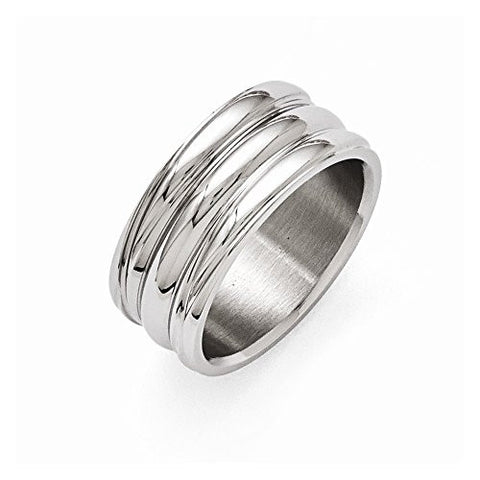 Stainless Steel Polished Grooved Ring - shopvistar