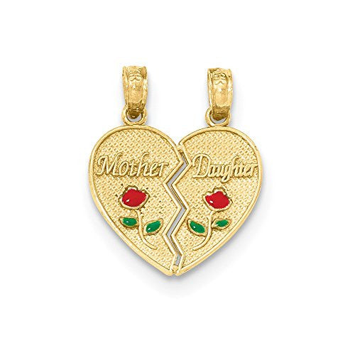 14k Enameled Mother - Daughter Pendant, Best Quality Free Gift Box Satisfaction Guaranteed - shopvistar