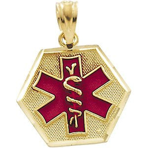 14K Yellow Gold Medical Id Pendant - shopvistar
