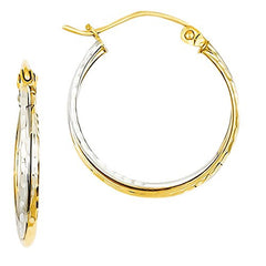 14k Yellow and White Gold Dia-cut Twisted Hoop Earrings with Vi Star Polishing Cloth - shopvistar