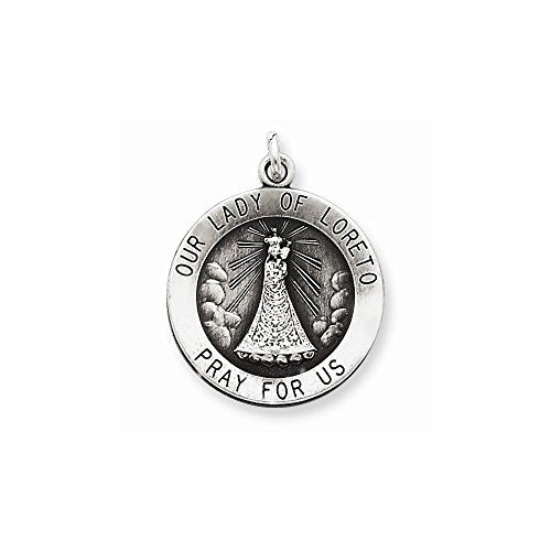 Sterling Silver Antiqued Our Lady of Loreto Medal - shopvistar