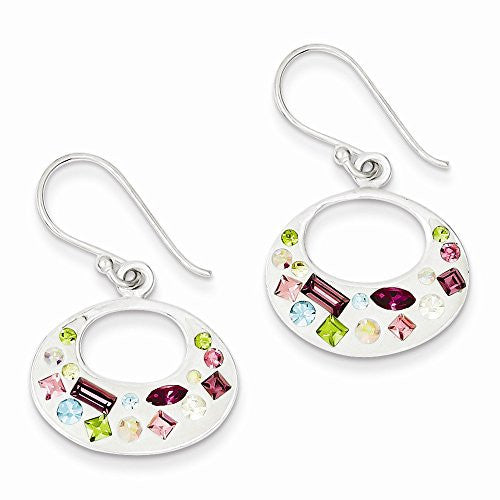 Sterling Silver Multi-Color Stellux Crystal/White Earrings - shopvistar