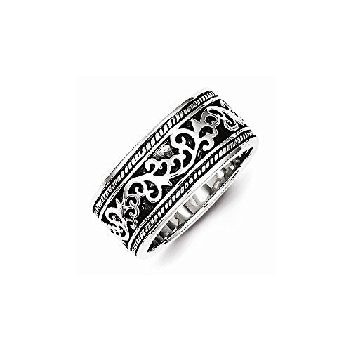 Sterling Silver Antiqued Band, Best Quality Free Gift Box Satisfaction Guaranteed - shopvistar