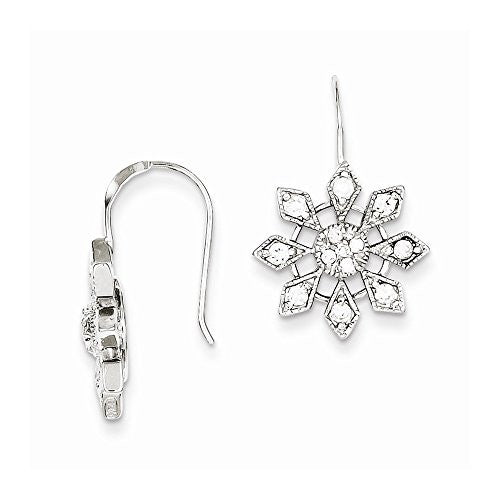 Sterling Silver Cz Snowflake Earrings, Best Quality Free Gift Box Satisfaction Guaranteed - shopvistar