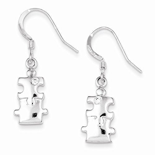 Sterling Silver Polished CZ Puzzle Pieces Dangle Earrings - shopvistar