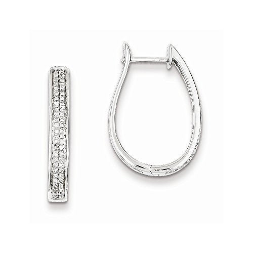 Sterling Silver Diamond Oval Hinged Hoop Earrings, Best Quality Free Gift Box Satisfaction Guaranteed - shopvistar