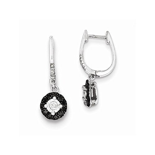 Sterling Silver Black & White Diamond Hinged Hoop Dangle Earrings - shopvistar