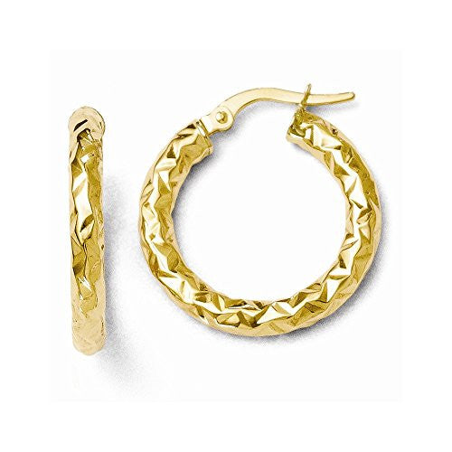 Leslie's 14k ForeverLite Polished and Textured Hoop Earrings - shopvistar