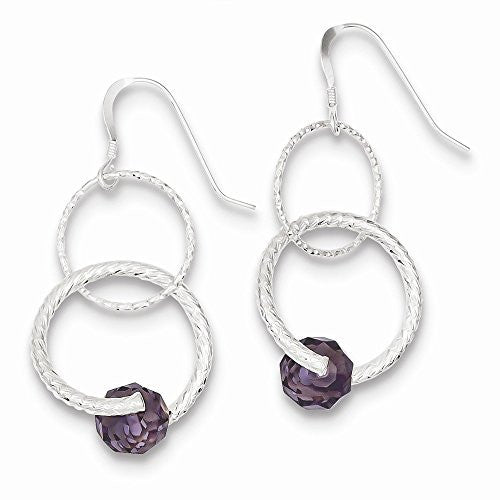 Sterling Silver Purple Glass Bead Shepherd Hook Earrings - shopvistar