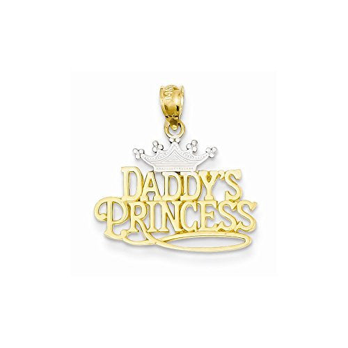 14k And Rhodium Daddys Princess Pendant, Best Quality Free Gift Box Satisfaction Guaranteed - shopvistar