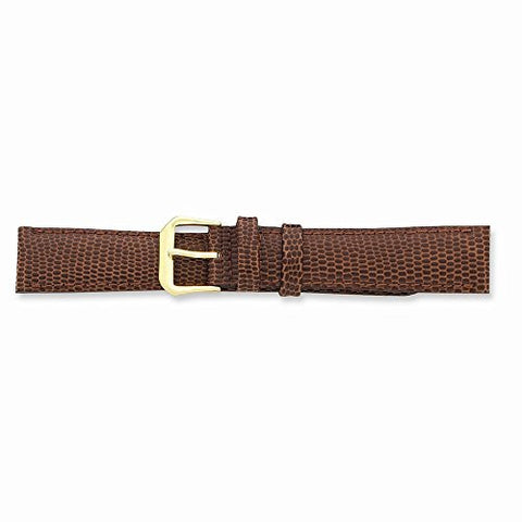 15mm Havana Lizard Grain Lthr Gold-tone Buckle Watch Band, Best Quality Free Gift Box Satisfaction Guaranteed - shopvistar