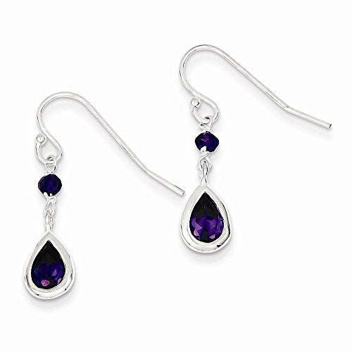 Sterling Silver Purple Cz Dangle Earrings, Best Quality Free Gift Box Satisfaction Guaranteed - shopvistar