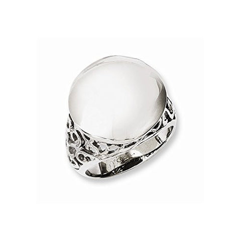 Stainless Steel Polished Circle Size 9 Ring , Size: 9 - shopvistar