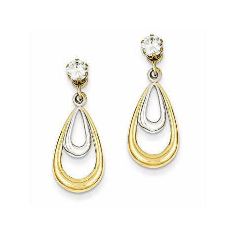 14K Two Tone Polished w/CZ Stud Earring Jackets - shopvistar