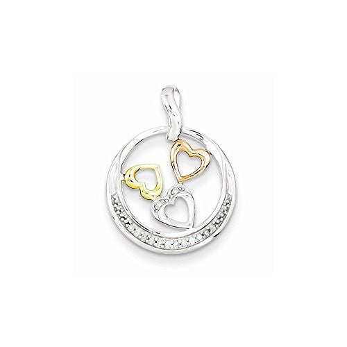 Sterling Silver & 14k Yellow/rose Gold Diamonds Circle Heart Pendant, Best Quality Free Gift Box Satisfaction Guaranteed - shopvistar