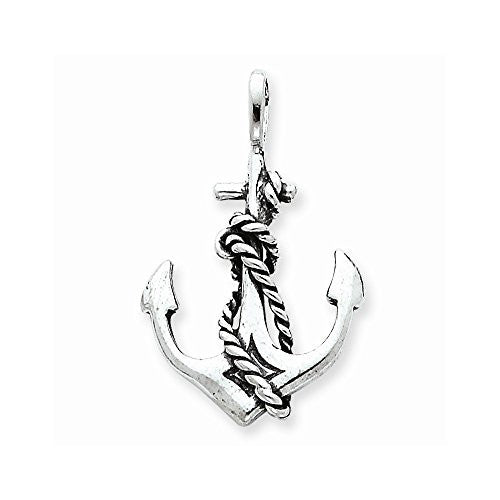 Sterling Silver Antiqued Anchor And Rope Pendant, Best Quality Free Gift Box Satisfaction Guaranteed - shopvistar