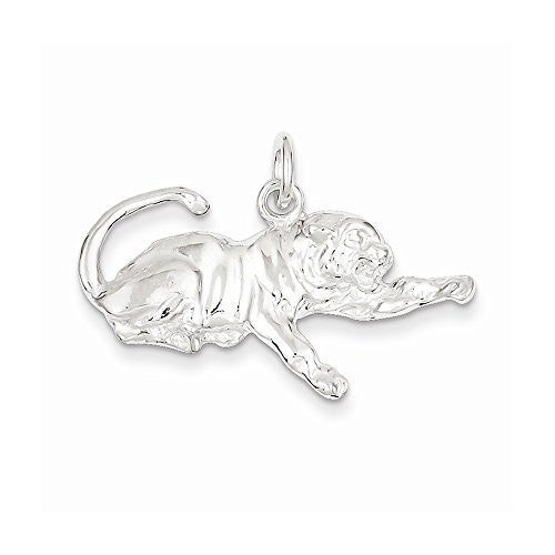 Sterling Silver Tiger Charm, Best Quality Free Gift Box Satisfaction Guaranteed - shopvistar