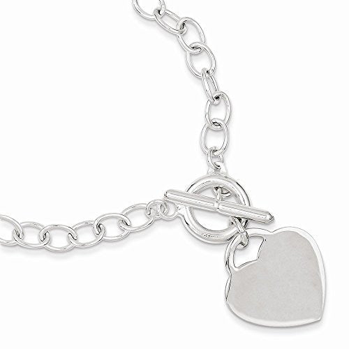 Sterling Silver Oval Link Heart Bracelet, Best Quality Free Gift Box Satisfaction Guaranteed - shopvistar