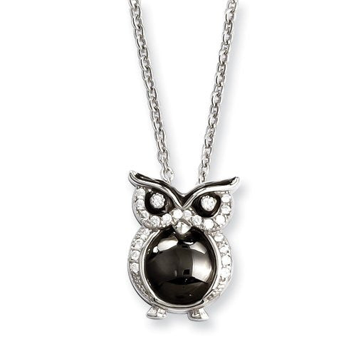 Sterling Silver & Cz Owl Necklace by Brilliant Embers, Best Quality Free Gift Box Satisfaction Guaranteed - shopvistar