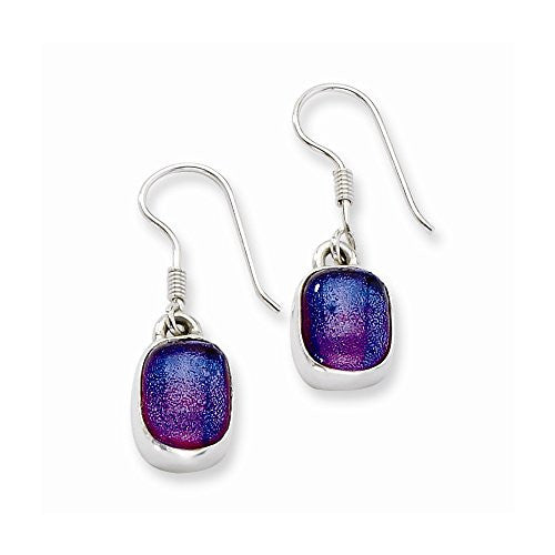 Sterling Silver Blue Dichroic Glass Dangle Earrings, Best Quality Free Gift Box Satisfaction Guaranteed - shopvistar