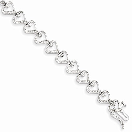Sterling Silver Diamond Heart Bracelet, Best Quality Free Gift Box Satisfaction Guaranteed - shopvistar