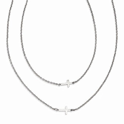 Stainless Steel Double Sideways Crosses Layered Necklace - shopvistar