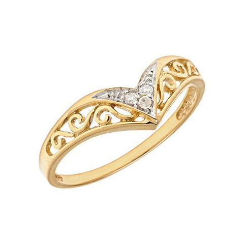 10K Yellow Gold Diamond Chevron Ring (Size 9.5) - shopvistar