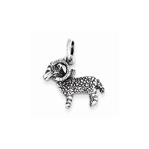 Sterling Silver Antiqued Aries Pendant, Best Quality Free Gift Box Satisfaction Guaranteed - shopvistar