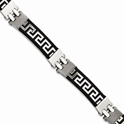 Stainless Steel Black Rubber with Greek Key Design 8in Bracelet - shopvistar