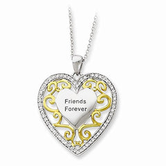 Sterling Silver & Gold-plated Friends Forever 18in Heart Necklace - shopvistar