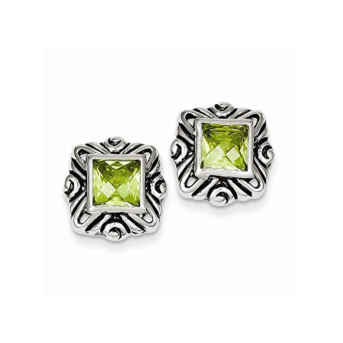 Sterling Silver Green CZ Square Earrings - shopvistar