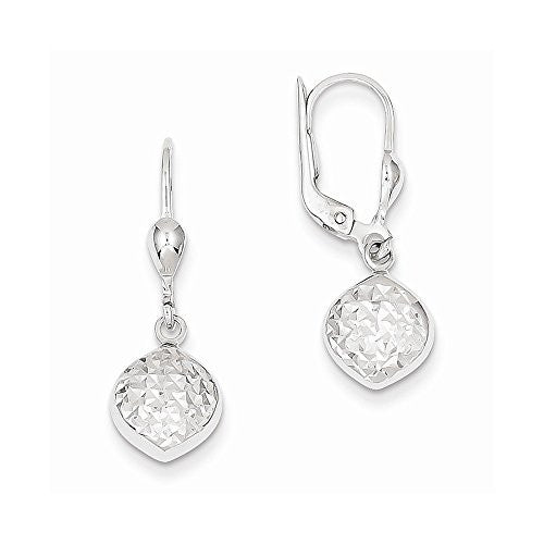 14k White Gold Polished & Dia-Cut Dangle Leverback Earrings - shopvistar