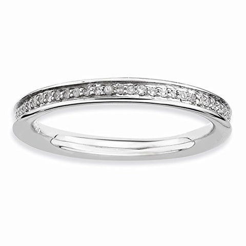 Sterling Silver & Diamonds Polished Ring by Stackable Expressions, Best Quality Free Gift Box Satisfaction Guaranteed - shopvistar