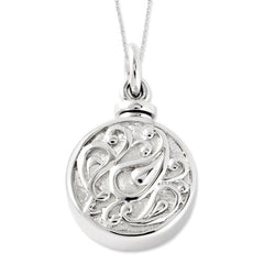 Sterling Silver Tear In Circle Ash Holder 18in Necklace, Best Quality Free Gift Box Satisfaction Guaranteed - shopvistar