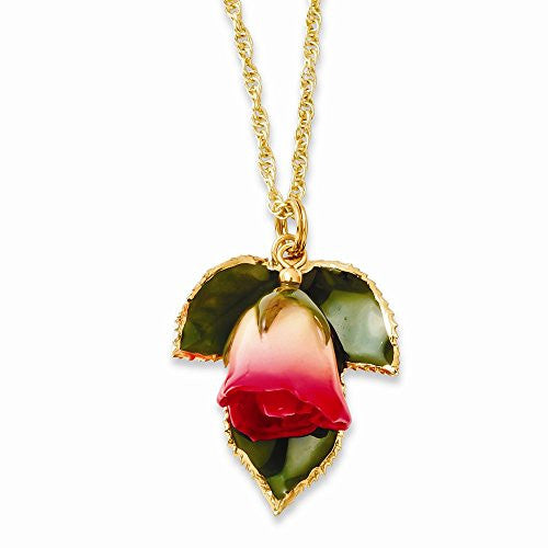 Lacquer Dipped White/Pink Rose Necklace with Gold-tone Chain - shopvistar