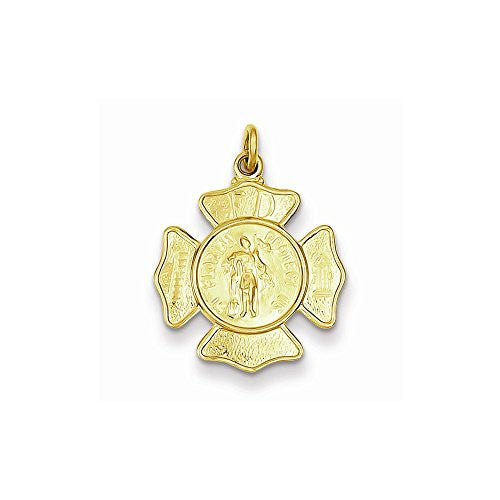 24k Gold-plated Sterling Silver Saint Florian Fireman's Badge Medal - shopvistar