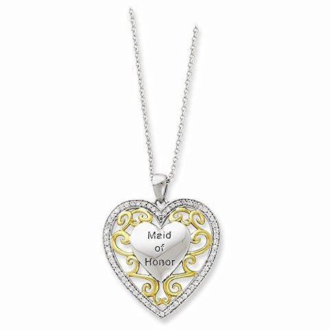 Sterling Silver & Gold-plated Cz Maid Of Honor 18in Heart Necklace - shopvistar